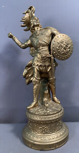 19thC Antique VICTORIAN Era GREEK WARRIOR Sword MEDUSA Shield Old MANTEL STATUE