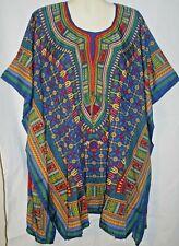 Womens Top Shirt Dashiki Blue Print Caftan Free Size Fits Size 3X 4X