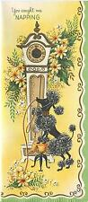 VINTAGE BLACK FRENCH POODLE DOG GRANDFATHER CLOCK 1 CHRISTMAS TOY SHOP ART CARD