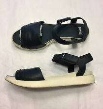 CAMPER navy blue leather white contrast sole sandals flats 39 UK 6
