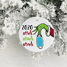 Grinch Hand 2020 Mask Christmas Ornament Xmas Tree Hanging Pendant with Gift Box