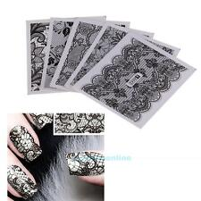 24 Sheets DIY Decals Nail Art Water Transfer Printing Stickers Black Lace Decor