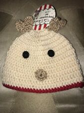 So Adorable Hand Crochet Reindeer Hat Christmas Holiday Sz 6-12 Months NWT