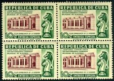 Cub1951. Ajedrez. Jose Raul Capablanca en bloque de 4. MNH. **.