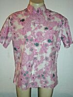 Burberry London Pink Floral Cotton Shirt,Made In UK,Large