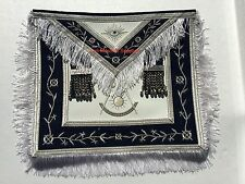 Masonic Past Master Apron  Synthetic Heavy Leather Silver Tassels Silky Fringe