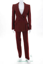 Emanuel Ungaro Red Cashmere Wool Striped Long Sleeve Pant Suit French 36 US 4