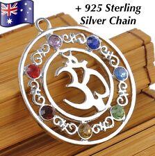 7 Stone Chakra Healing Point Reiki Gemstone OM Pendant Sterling Silver Necklace
