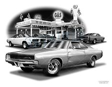 "CHARGER 68, 69 RT MUSCLE Auto Art Car Print #5003 ""FREE USA SHIPPING"""