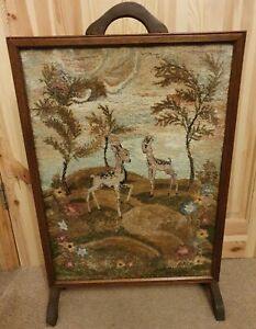 Vintage Embroidered Bambi / Muntjac Deers Fire Screen Wooden Surround & Back