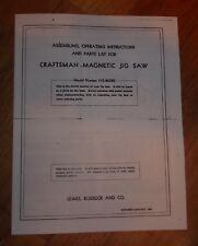 SEARS CRAFTSMAN MAGNETIC JIG SAW OWNERS MANUAL 110.26320 26320