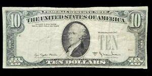 1977-A TEN DOLLAR FRN RARE ERROR MISSING 3RD PRINTING CIRCULATED NICE!