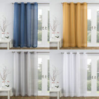 TEXTURED TEXTURED POM POM TASSEL EYELET THICK VOILE CURTAIN PANEL/S 4 SHADES