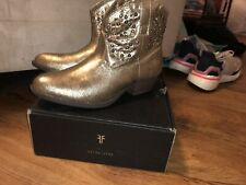 frye deborah studded boot Cowboy Cowgirl Boots Leather Gold Size 5
