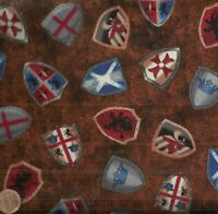 Through the Ages medieval shields knights Exclusively Quilters fabric