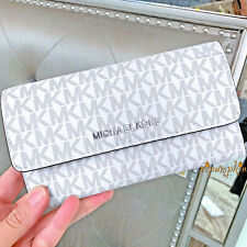Michael Kors Jet Set Travel Large Trifold Mk Signature Wallet Bright White