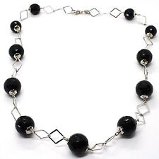 Necklace Silver 925, Onyx Black Faceted, Length 45 cm, Chain Rhombuses