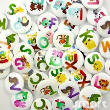100pcs Mixed Bulk Round English Letters Wood Buttons Lots Embellish Craft 20MM