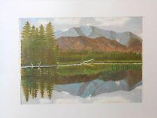 Dipinto ad olio del Canada monti e lago paesaggio su tela Foglio