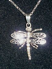 """925 STERLING SILVER  DRAGONFLY PENDANT WITH MOVING WINGS ON 16"""" SILVER CHAIN"""
