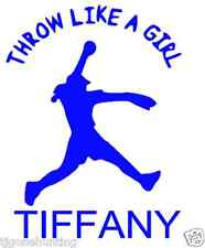 Personalized throw like a girl vinyl softball decal, pitcher car sticker