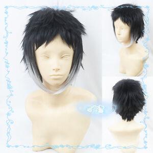 167 Short Black mix Silver Cosplay Wig Free Wig Cap