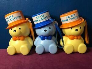 Lot of 3 Vintage Children's Bear Canteens w/ Wrist Strap - Sippy Cup - 16 oz