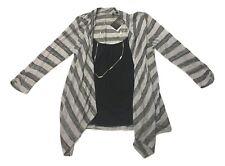 HeartSoul Juniors Size Large Grey Black Stripe Mock Layer Cami Cardigan Top