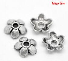 150 ANTIQUE SILVER 6mm FLOWER BEAD CAPS~Fit 6-10mm Bead~Bracelets~Necklace (65F)