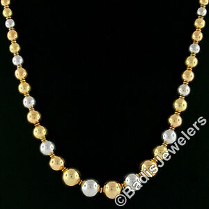 Vintage 18k Rose White Yellow Gold Graduated Round Ball Bead 6.0-14.3mm Necklace
