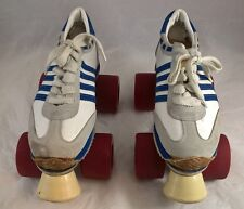 Vintage Easy Roller Quad Roller Skates 80's Size 3 White / Blue stripes