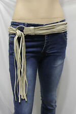 Fashion Belt Hip Waist S M L Women Silver Metal Ring Ivory Faux Suede Leather