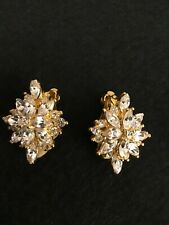 earrings gold tone and diamanté diamond cluster shaped 2cm approximately