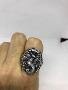 1980's Vintage Southwestern Silver Men's Mother Of Pearl Inlay Mermaid 11 Ring
