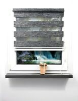 Doppelrollo ohne Bohren Rollo Klemmfix Zebra Seitenzugrollo FensterTür Anthrazit