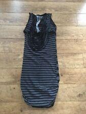 Women's Religion sleeveless long black & grey stripe bodycon dress Size 1 Uk 8