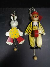 Sevi Wooden Clown & Rabbit  Hanging Pull Toy Puppet Jointed Legs
