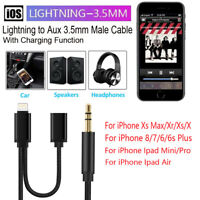 For iPhone XS Max Xr X 8 7 iPad Lightning to 3.5mm Aux Jack Audio Charging Cable