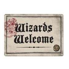 Genuine Harry Potter Wizards Welcome Small A5 Steel Sign Tin Wall Door Plaque