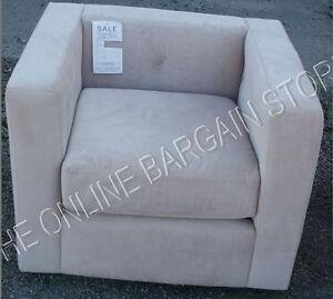 1 Pottery Barn West Elm Elliot Velvet Accent Sofa Chair Contemporary Dune Cream