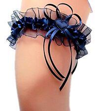 XXL Strumpfband Braut blau dunkelblau nachtblau Satin Herzchen Schleifchen EU