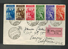 1935 Vatican airmail Registered cover to Pacific Grove USA # 41-46 Complete set
