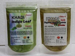 100 Gm Of Each Pure and Natural Indigo & Heena Powder From Khadi Omorose