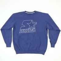 Vtg 90s STARTER Sweatshirt XL Faded Blue Heavyweight USA Made Grunge