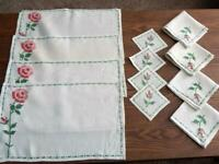 Vintage Hand Embroidered Roses - 12 Pc Linen Set - Placemats, Napkins, Coasters