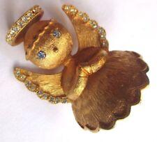 Bijou Vintage couleur or broche angelot ange en relief cristaux diamant 3078