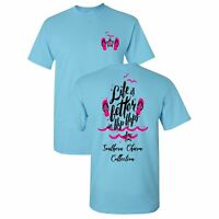 Life is Better in Flip Flops Southern Charm Collection on a Sky Blue T Shirt