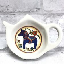 Swedish Blue Dala Horse Dalahäst Kitchen Refrigerator Magnet Teapot Shape Flower