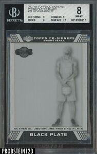 2007-08 Topps Co-Signers Kevin Garnett HOF 1/1 Black Printing Plate BGS 8