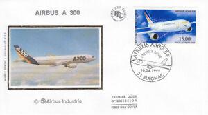 "FRANCE, FDC, SILK # C62,  ""AIRBUS A 300, 1999."""